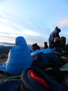 Selbst mit dem Schlafsack ist es immer noch eiskalt